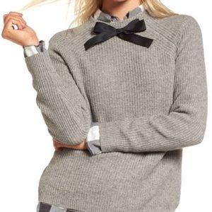 J.Crew Gray Gayle Bow Tie-Neck Sweater